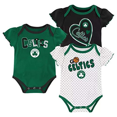 Outerstuff NBA Girls Newborn & Infants 0-24 Months Draft Pick Body Suit Onesie 3 Piece Set (Boston Celtics, 3/6 Months)