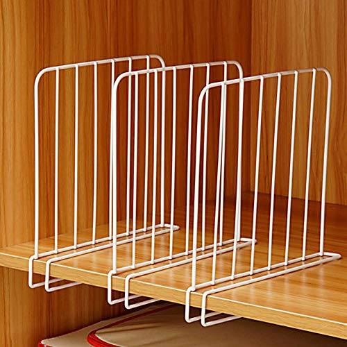 Separadores de estantería, paquete de 3 divisiones de estante en alambre de armario, separadores verticales de organizador, de metal blanco para armarios de armario de madera de oficina de cocina