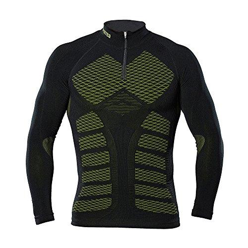 erreà 3Dwear Vega Kompressionsshirtmit Jaquard-Design (Langarm) · Unisex 3D Hightech-Funktionsshirt mit Reißverschluss «Made in Italy» Größe L/XL, Farbe schwarz-Neongelb