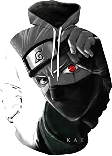 AKlamater Men's Naruto Hoodie 3D Cartoon Anime Pullover Sweatshirt Hatake Kakashi Cosplay