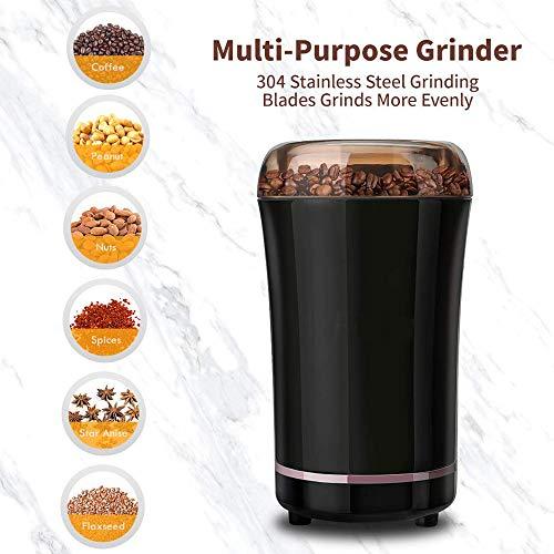 Boehner Elektrische Kaffeemühle 300W mit Edelstahlmesser Abnehmbares Netzkabel Kaffeemühle für Kaffeebohnen Mühle Gewürze Samen Pfeffer Zucker Salz