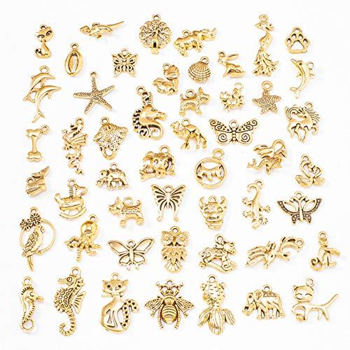 Oro Tibetana Colgantes Oro Antiguos, 50 piezas Abalorios de Oro de Estilos...