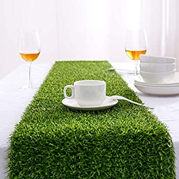 Farochy Artificial Grass Table Runners - Synthetic Grass Table Runner for Wedding Party Birthday Banquet Baby Shower Home Decorations  14 x 72 inches