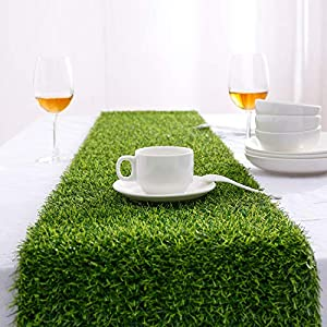 Farochy Artificial Grass Table Runners – Synthetic Grass Table Runner for Wedding Party, Birthday, Banquet, Baby Shower, Home Decorations (14 x 48 inches)