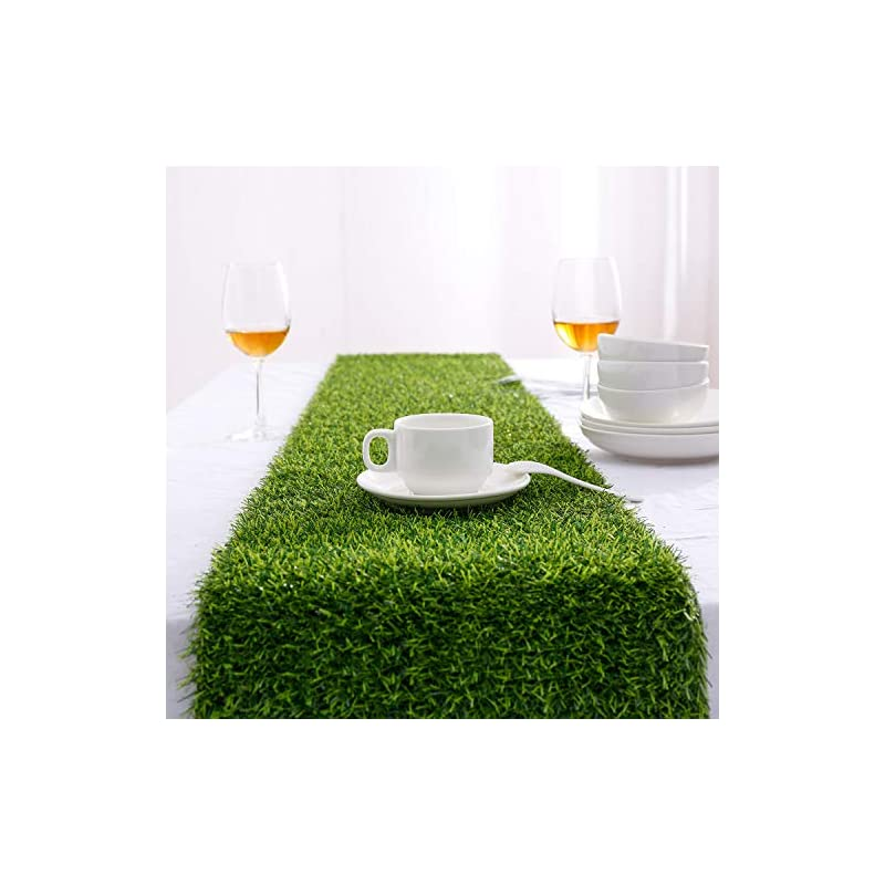 silk flower arrangements farochy artificial grass table runners - synthetic grass table runner for wedding party, birthday, banquet, baby shower, home decorations (14 x 48 inches)