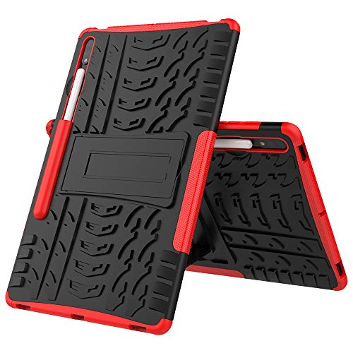 Samsung Tab S7+ Case, Midcas Heavy Duty Dual Layer Hybrid Rugged Reinforced Corners Impact Protection Case Cover with Stand Function for Samsung Galaxy Tab S7 Plus/S7+ T970/T975/T976 12.4' 2020 Red