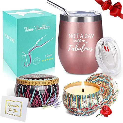 Not a Day Over Fabulous Wine Tumbler + Candles Gift Set