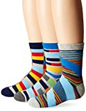 Jefferies Socks Boys' Big Funky Stripe Crew Socks (3 Pair Pack), Multi, Small