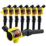 DG508 Ignition Coils Curved Boot Compatible With Ford F150 E150 Explorer Crown Victoria, Town Car, Grand Marquis 4.6l 5.4l 6.8l V8 V10, 8 Pack, Yellow