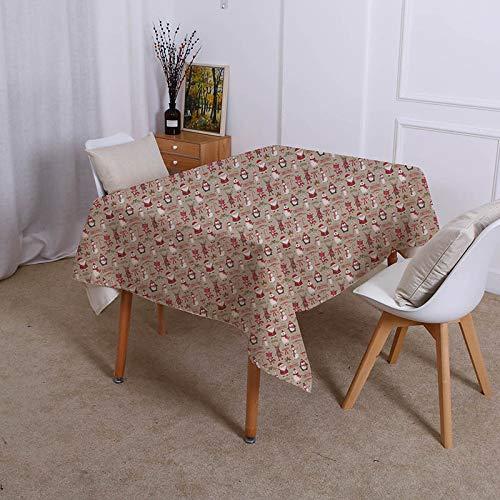 XXDD Kreatives Design Schneemann wasserdichte Tischdecke Retro-Dekoration Esstischabdeckung Home Küchentischdecke A9 135x200cm