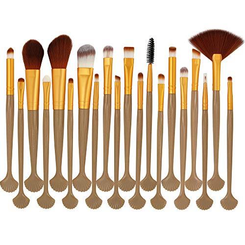 Simsly - Set di 20 pennelli da trucco sintetici di alta qualità, per fondotinta, cipria, correttori, occhi da viaggio (BK-JJ20Brown)