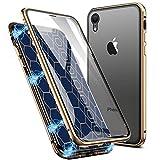 EATCYE Kompatible mit iPhone XR Hülle (6,1 Zoll), Ultra Dünn Magnetische Adsorption Metallrahmen Hülle 360 Grad Komplettschutz mit Doppelseitig Gehärtetes Glas Transparente Displayschutzfolie (Gold)