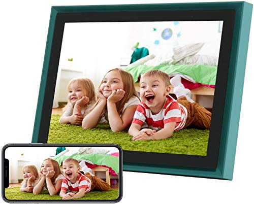 AEEZO WiFi Digital Picture Frame 10 Inch IPS Touch Screen FHD 2K Display Smart Cloud Photo Frame with 16GB Storage, Easy Setup to Share Photos & Videos, Auto-Rotate Frame (Green) Digital Frames Picture