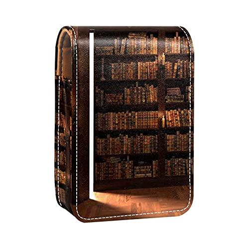 Make-up-Tasche Lippenstift-Etui für Außen Mini-Tasche Reisekosmetiktasche mit Spiegel-Lippenstift-Box Die Geheimtür im Bücherregal für Frauen Damen Geschenke