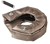 T4 Titanium Turbo Blanket Heat Shield charger Cover Wrap for T4 GT40 GT42 GT45 With Locking Springs,Cover Fiberglass Turbo Charger Cover Heat Shield Barrier Fiber Turbo Blanket Turbocharger