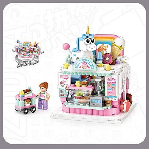 Xpixel Mini Shops Blocks - Heladería - Se Abre y se Puede Jugar con el Interior - Juguete de Construcción - Bloques Tamaño Mini - Construye tu Propia Mini Avenida