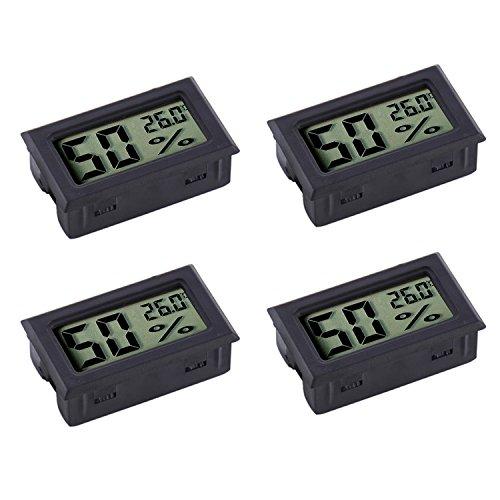Veanic 4er-Pack Mini Digital Elektronische Temperatur Luftfeuchtigkeit Messgerät Innen Thermometer Hygrometer LCD Display Fahrenheit (°F) für Humidor, Garten, Keller, Kühlschrank, Schrank