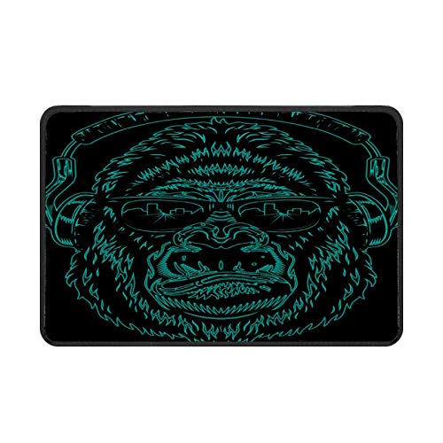 Gorilla Animal Monkey Green felpudo, fácil de limpiar, antideslizante, para entrada de patio, puerta delantera, garaje, cocina, baño, cuarto de lavandería, todo tipo de clima, interior y exterior