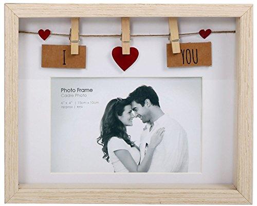 Wäscheleine-Fotorahmen aus Holz mit Klammern für 6x4Foto, holz, I Love You