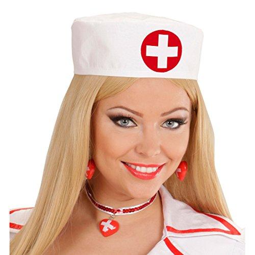NET TOYS Krankenschwester Haube Schwesternhaube Schwester Hut Ärztin Häubchen Sexy OP Mütze Arzt Kopfbedeckung Karneval Kostüm Damen Zubehör