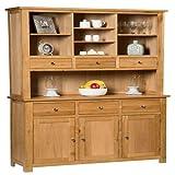 Hallowood Waverly Large Dresser Display Cabinet in Light Oak Finish | Wide Storage Cupboard | Solid Wooden Unit