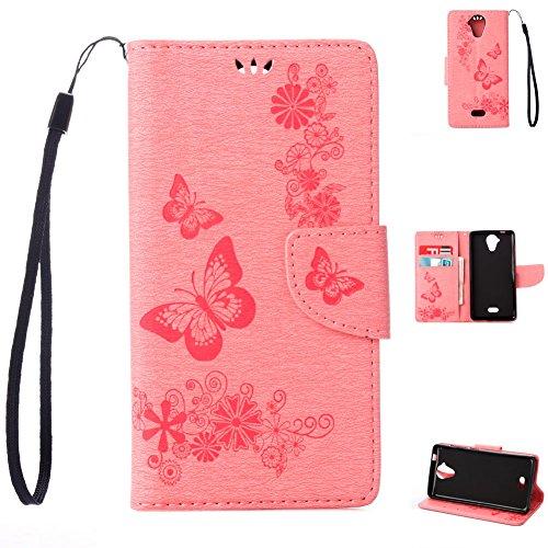 95Street Wiko U Feel Lite Handyhülle Book Case Wiko U Feel Lite Hülle Klapphülle Tasche im Retro Wallet Design mit Praktischer Aufstellfunktion - Etui Rosa