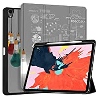 """MAITTAO iPad Pro 12.9 Case 2018 [Support Apple Pencil Holder & Pencil Charging],Folio Stand Protective Smart Cover For iPad Pro 12.9"""" 3rd Gen With Tablet Sleeve Bag 2 in 1 Bundle, Creative Bulb 1"""
