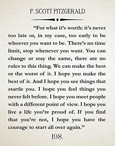 F Scott Fitzgerald Quote Great Gatsby Poster Great Gatsby Wall Art Literary Quote Literary Quote Inspiring Gift Inspiring (11 x 14, Ivory)