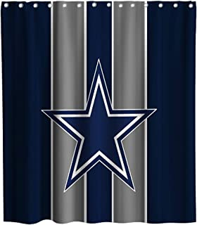 Lifeasy Custom American Dallas Cowboys Shower Curtain Texas Star Cloth Fabric Bathroom Decor Set with Hooks Waterproof Washable 70 x 70 inches Blue Grey