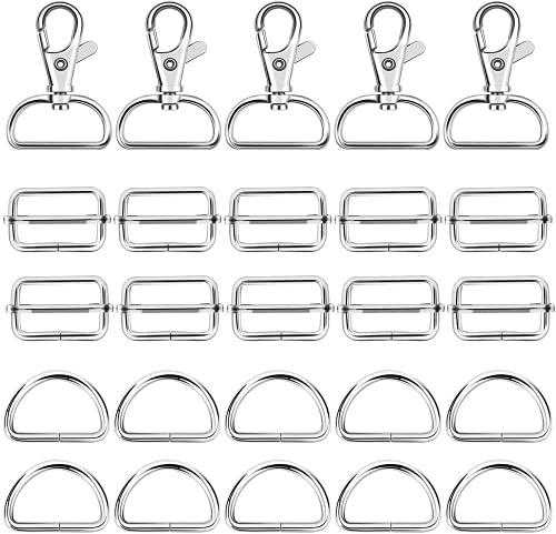 Queta 60 pcs Hebilla Deslizante Metal, Incluir 20 Mosquetón Giratorio + 20 Anillos en D + 20 Anillos Rectangulares para Manualidades, Ropa, Bolsos, Álbumes de Recortes (Type 2)