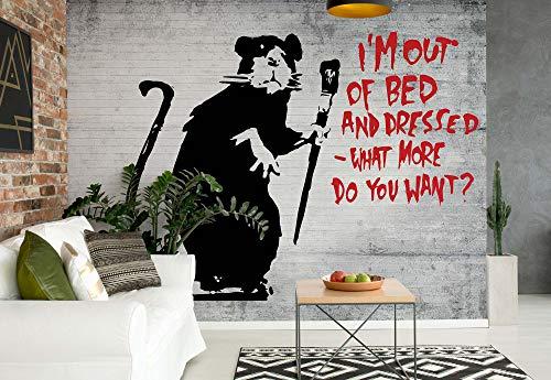 Banksy Graffiti Betonwand - Wallsticker Warehouse - Fototapete - Tapete - Fotomural - Mural Wandbild - (2900WM) - XL - 208cm x 146cm - VLIES (EasyInstall) - 2 Pieces