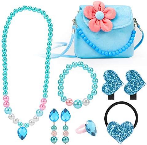 Hifot Kids Jewelry Little Girls Plush Handbag Necklace Bracelet Earrings Ring Hair Clips Set product image