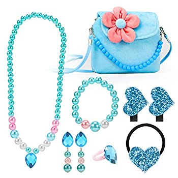Hifot Kids Jewelry Little Girls Plush Handbag Necklace Bracelet Earrings Ring Hair Clips Set Princess Costume Jewelry Party Favors Gift for Dress up Pretend Play  3-8 Years