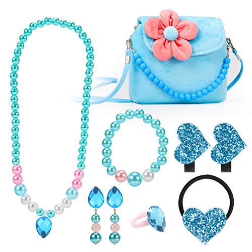 Hifot Kinderschmuck Kleine Mädchen Plüsch-Handtasche Halskette Armband Ohrringe Ring Haarspangen Haarbänder Set, Prinzessin Kleid schmuck Party Favors Geschenk zum Pretend Play