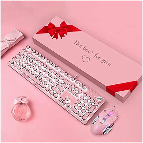 Punk rétro clé ronde clavier réel clavier mécanique fille mignon rose bureau clavier de jeu de frappe 30 types de motifs de lumière adaptés aux cadeaux de noël