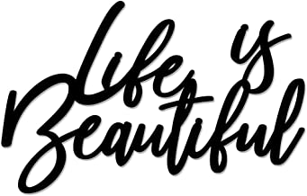 Prem Art and Craft Life is Beautiful Only MDF Plaque Painted Cutout Ready to Hang Home Office Décor Wall Art (Black)
