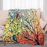 Mantas Invierno Pájaro Animal Naranja - 3D Suave Cálida Manta Impresión Manta Franela de Felpa Soft Cálidas - Multiuso de Manta Bebe-para sofá de Oficina y Dormitorio,130x150 cm