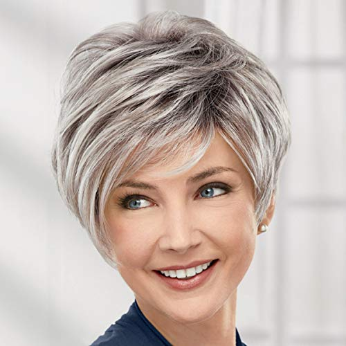 Victoria WhisperLite Wig by Paula Young - Edgy, Short Pixie Wig with An Asymmetrical Fringe and Rich, Feathery Layers/Multi-tonal Shades of Blonde, Silver, Brown, and Red