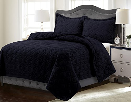 Tribeca Living LYONQUILTQUBL Lyon Solid Oversized Geometric Quilt Set, Queen, Black