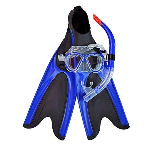 Zjcpow-SP Taucherflossen Scuba Snorkel Set Einstellbare Tauchflossen, Tauchmaske aus gehärtetem Glas und Trockenschnorchel for Männer und Frauen (Größe : M/L)