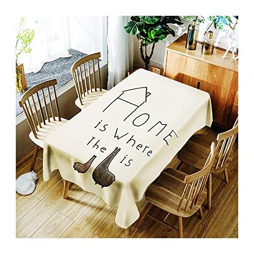 ZHAOXIANGXIANG Dessin Animé Minimaliste Tapis De Table Fashion Creative Lettres Décoration Maison Pique-Nique Dîner Table Cloth Imprimer,130Cm×180Cm
