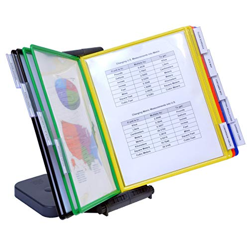 Ultimate Office AdjustaView 10-Pocket Desk Reference Organizer with Easy-Load Pockets and Compact Weighted Base for Stability (Colored Pockets)