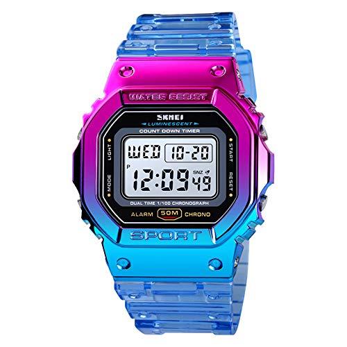 Zwbfu Relógio esportivo digital feminino Cor de contraste Modo de hora dupla Data Semana Despertador Luz de fundo 5ATM Relógios femininos à prova d'água para o dia a dia Als Adolescentes pulseira