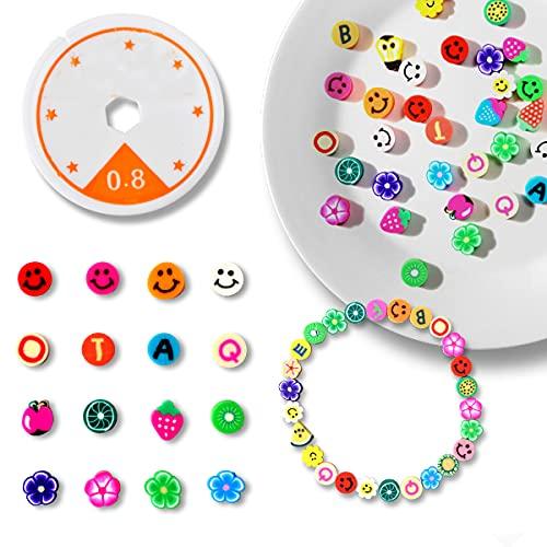 200 cuentas Emoji para hacer pulseras,Cuentas de sonrisa, Abalorios para hacer pulseras,Fabricación de Joyas (Colores Aleatorios), epara niños de 4 5 6 7 años (Color Beads)