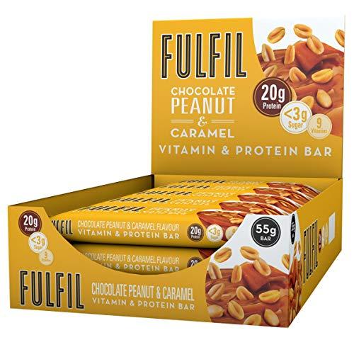 FULFIL Vitamin and Protein Bar (15 x 55g Bars) — Chocolate Peanut & Caramel Flavour — 20g High Protein, 9 Vitamins, Low Sugar