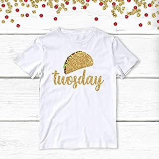 1 pc taco twosday 100% COTTON short sleeve t-shirt for second birthday toddler boy girl fiesta Mexican party theme taco bout a party