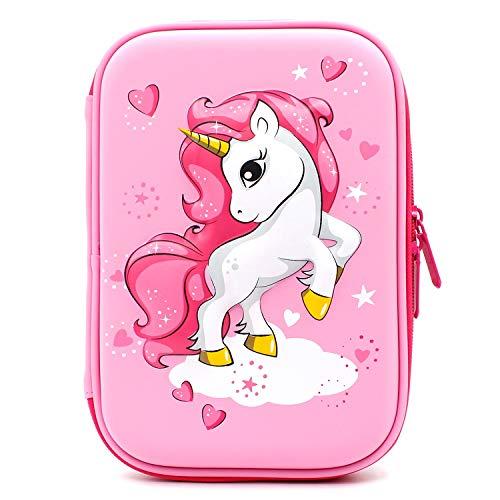 Astuccio rigido con unicorno volante goffrato - grande scatola per la scuola con scomparti - borsa per cancelleria per bambini e bambine rosa chiaro