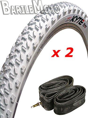 N°2 Copertone / Pneumatico 26 x 2.10 (56 - 559) BIANCO + N°2 Camere I. Bici MTB
