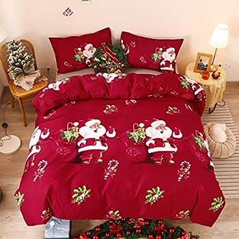 LAMEJOR Santa Claus Duvet Cover Set King Size Christmas Theme New Year Holiday Bedding Set Comforter Cover  1 Duvet Cover+2 Pillowcases  Red