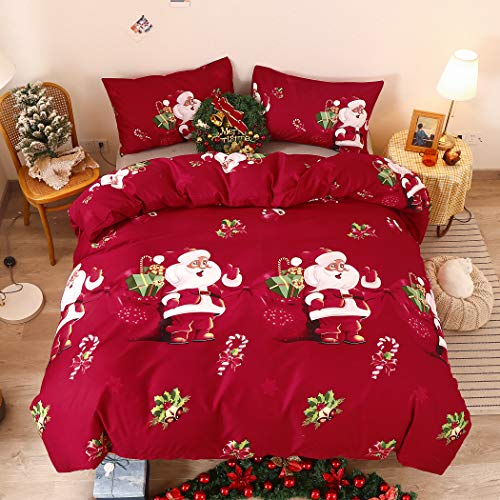 LAMEJOR Santa Claus Duvet Cover Set Queen Size Christmas Theme New Year Holiday Bedding Set Comforter Cover (1 Duvet Cover+2 Pillowcases) Red